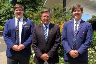Connor Ibbotson (left) and Luke Ibbotson with principal Cameron Herbert.