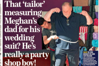The cover of the Mail on Sunday showing Thomas Markle, Meghan Markle's father, being fitted for a suit.