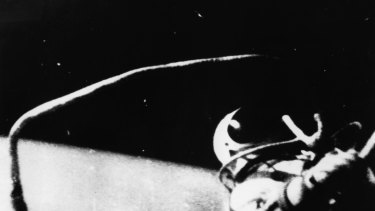 Russian astronaut Alexei Arkhipovich Leonov steps from the spaceship Voskhod 2 to become the first man to walk in outer space.