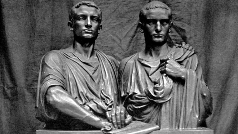 A statue of the Gracchi brothers, ill-fated tribunes of the plebs of Ancient Rome.
