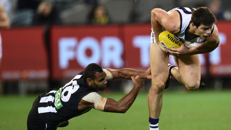 Hot property: Werribee defender Sam Collins at the MCG in 2016 during his stint with Fremantle.