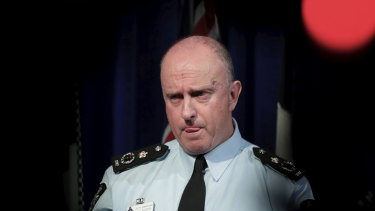 Acting Australian Federal Police commissioner Neil Gaughan fields questions over the raids.