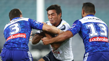 Concerning: Te Maire Martin (centre) is tackled by Kerrod Holland and Rhyse Martin of the Bulldogs last weekend.