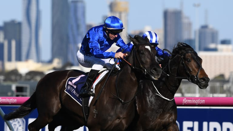 Meant to be: Glyn Schofield (left) rides Avilius to victory in the race named after his famous grandfather, Bart Cummings, at Flemington in October.