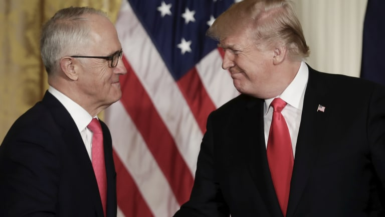Malcolm Turnbull and Donald Trump at the White House in February. The former PM says he was able to keep Australia free from tariffs imposed by the US President.