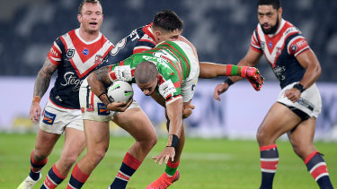 Victor Radley could be in hot water for this tackle on South Sydney's Dane Gagai.
