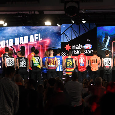 The 2018 AFL draft's top 21 selections try on their new colours.