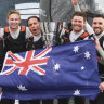 Team Australia celebrate winning the SailGP Season 01 Championship in Marseille on Sunday.
