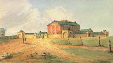 An 1820 watercolour of Hyde Park Barracks.