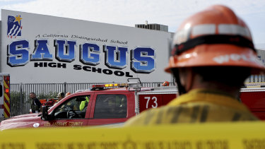First responders stand by for any injured students after a gunman opened fire at Saugus High School in California last week.
