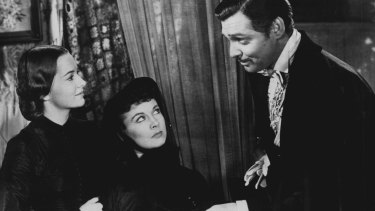Olivia De Havilland (left), Vivien Leigh and Clark Gable in Gone With the Wind.