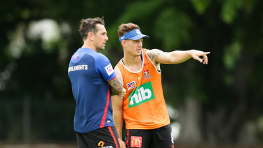 Mitchell Pearce (left) is an unabashed fan of his young Newcastle teammate.