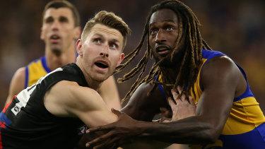Ruck dominance: West Coast's Nic Naitanui battles with Essendon's Shaun McKernan.