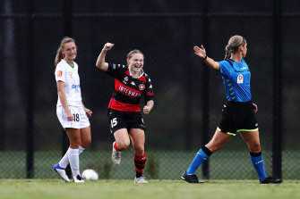 Rosie Galea celebrates after scoring against the Jets at the Wanderers Centre of Football.