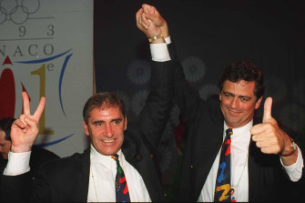 John Fahey and the Sydney Olympics bid's chief executive Rod McGeogh celebrate in Monaco as Sydney is announced as the winner in 1993