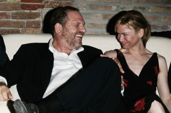 Renée Zellweger with the now-disgraced Hollywood producer Harvey Weinstein at a party in 2005.