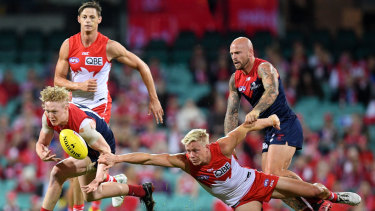 Melbourne's Clayton Oliver contests with Swan Isaac Heeney.