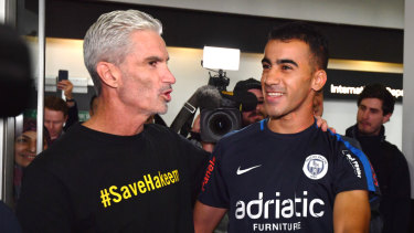Refugee footballer Hakeem al-Araibi with Craig Foster arrives back to Melbourne.
