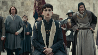 The King starring Timothée Chalamet as a young Henry V.
