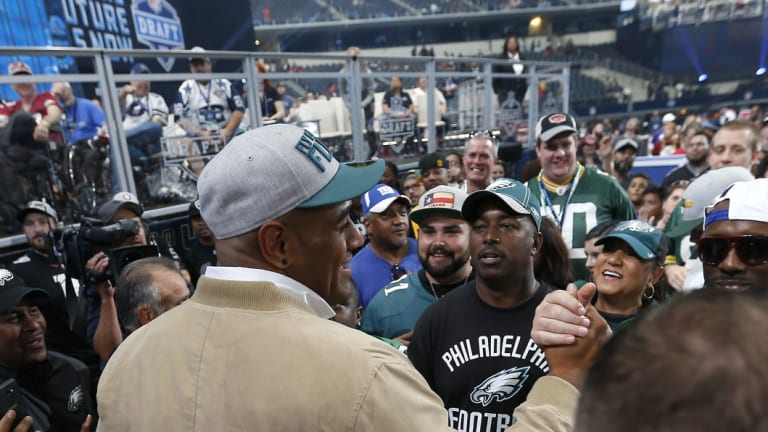 Landmark: Mailata shakes hands with fans after he was selected by the Eagles in the NFL draft back in April.