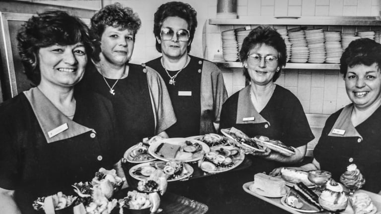 Golden Grille restaurant staff from 1993: Jadranka Cimbora, Bronwen Drover, Gordana Mauk, Kay Barrs and Annie Hovar.