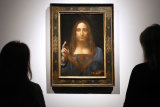 """The """"Salvator Mundi"""" on display at Christie's auction rooms in London in October 2017."""