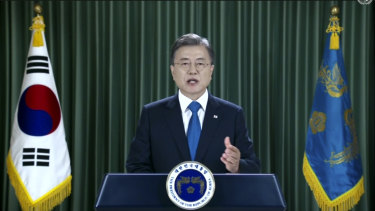 South Korean President Moon Jae-in speaks in a pre-recorded message which was played during the 75th session of the United Nations General Assembly.