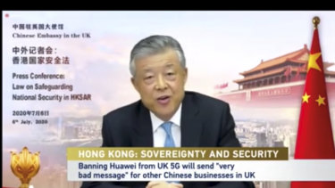 China's ambassador to the UK Liu Xioming holds a news conference over Twitter on Monday, July 6, 2020.