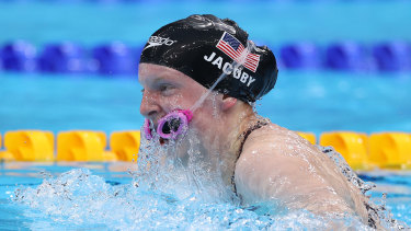 Lydia Jacoby lost her goggles during the breastroke leg of the mixed relay final.
