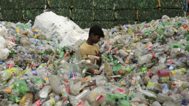 An Indian worker sorts used plastic bottles before sending them to be recycled at an industrial area on the outskirts of Jammu, India.