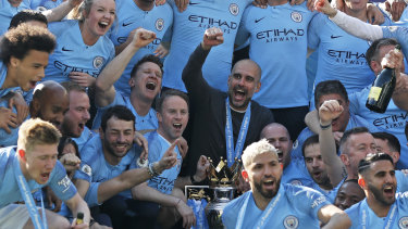 Manchester City celebrate winning the Premier League title on Monday (AEST).