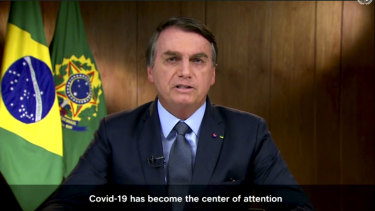 Brazilian President Jair Bolsonaro speaks in a pre-recorded message played during the 75th session of the United Nations General Assembly.