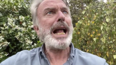 Sam Neill imitates a kookaburra for social media followers.