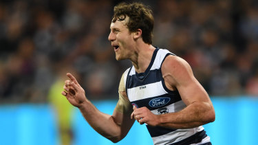 Rare sight: Jed Bews kicks a goal for the Cats.