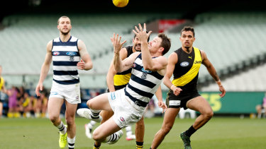 Patrick Dangerfield marks during a best-on-ground display against Richmond.