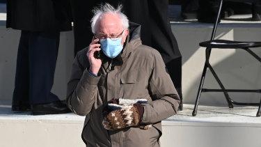 Senator Bernie Sanders .. .and his handmade mittens.