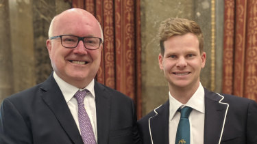 Australia's High Commissioner to the UK George Brandis with cricketer Steve Smith at Australia House in London.