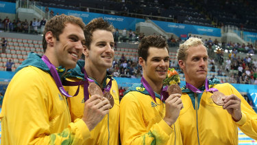 Matt Targett, James Magnussen,  Christian Sprenger and Hayden Stoeckel pose with their bronze medals in London eight years ago.