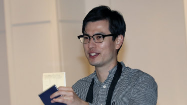 Alek Sigley arrives in Tokyo last week. after being held in North Korea