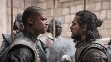 Greyworm is very cross with Jon, possibly due to the latter's questionable styling choices.