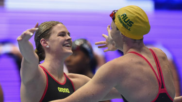 Shayna Jack (left) celebrating victory with Cate Campbell at last year's Pan Pacs.