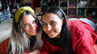 Halle Matthews and Stella-Rae Burns are co-tenants of a share house who save on rent by sharing their bedroom.