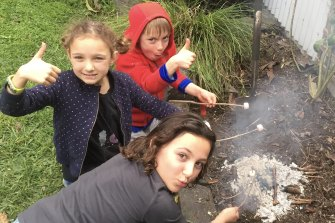 At home campfire.
