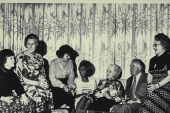Second from left, Margaret Whitlam and Gough Whitlam, right, with dinner party guests at the Lodge in 1975, including Dame Enid Lyons (to the left of the then Prime Minister) and her daughter Enid and her husband Brigadier Maurice Austin, right.