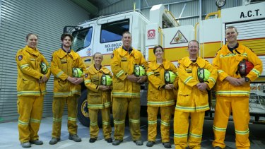 Members of the ACT Rural Fire Service's Molonglo brigade will be competing in this month's Tough Mudder in Sydney. From left: Cassy Voght, Ollie Taylor-Helme, Bernadette O'Kelly, Brett Vey, Katherine Jenkins, Tony Greep and Lyall Marshall. Absent team members:Brooke Turner, Maurice Giesen, Deborah Moger Smith.