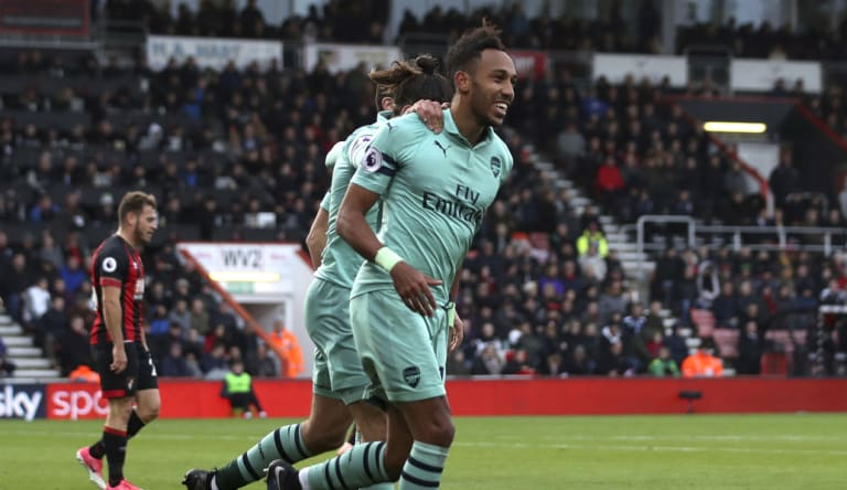 Pierre-Emerick Aubameyang celebrates scoring Arsenal's second goal against Bournemouth on Sunday.