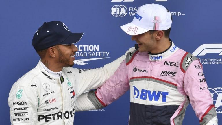 Impressive: Lewis Hamilton congratulates Force India's Esteban Ocon (right) on his third place in qualifying.
