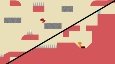 The screen splits if you drift too far apart, which allows for free exploration when you're not kicking each other.