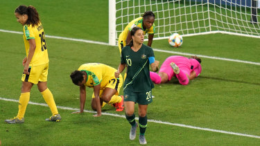 A pumped-up Sam Kerr celebrates her hat-trick against Jamaica.