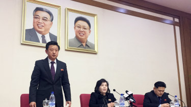 North Korean Vice-Foreign Minister Choe Son-hui, centre, speaks at a gathering for diplomats in Pyongyang on Friday.